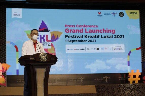 Direktur Utama Adira Finance Hafidz Hadeli di Grand Launching Festival Kreatif Lokal pada Rabu (01/09/21). (Foto: Public Relation Adira Finance)